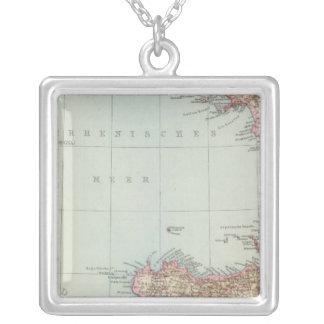 Italien sudliche Halfte, Map of South Italy Square Pendant Necklace