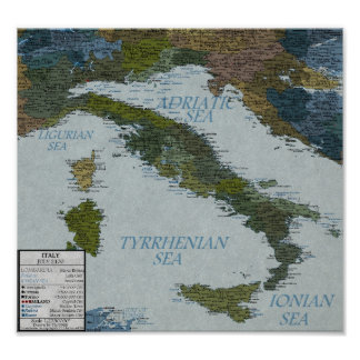 Italy - 100 m Sea Level Rise Poster