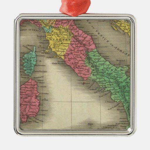 Italy 24 square metal christmas ornament
