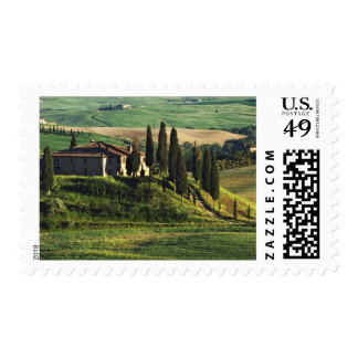 Italy. A pastoral Tuscany villa in Val d'Orcia. Postage Stamp