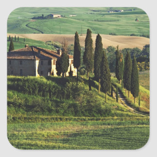 Italy. A pastoral Tuscany villa in Val d'Orcia. Square Sticker