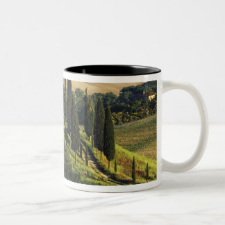 Italy. A pastoral Tuscany villa in Val d'Orcia. Two-Tone Coffee Mug