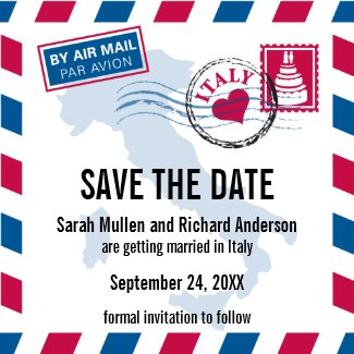 Italy Air Mail Wedding Save the Date magnet