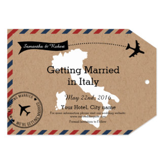 Italy Airmail Luggage Tag Save Dates 5x7 Paper Invitation Card