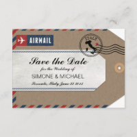 Italy Airmail Luggage Tag Save the Date