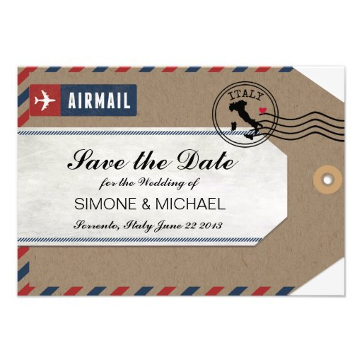 Personalized Airmail wedding invite luggage tags Invitations ...