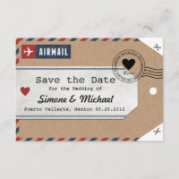 Italy Airmail Luggage Tag Save the Date with Map