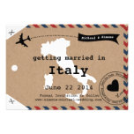 Italy Airmail Luggage Tag Save the Date with Map Invites