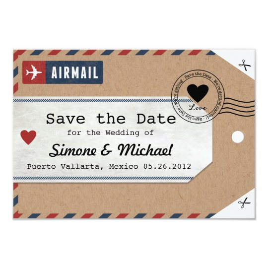 Italy Airmail Luggage Tag Save The Date With Map Invitation Zazzlecom - Luggage tag save the date template
