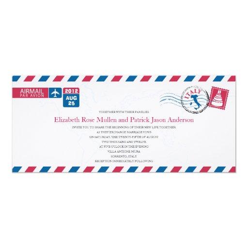 """ITALY Airmail Wedding Invitation 4"""" X 9.25"""" Invitation Card"""