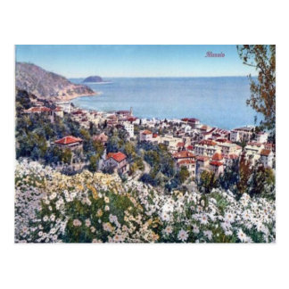 Italy,  Alassio, Flowers and a sea view Post Card