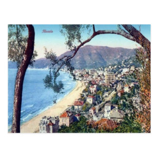 Italy,  Alassio, Sandy beach and town Postcard