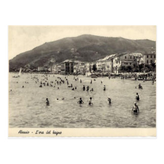 Italy,  Alassio, Swimming in the Mediterranean Postcard