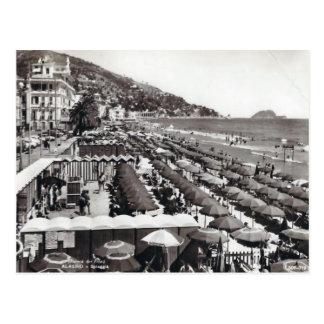 Italy,  Alassio, Umbrellas on the beach Postcard