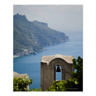 Italy, Amalfi Coast, Ravello, Bell tower with Print