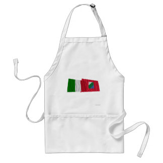 Italy and Abruzzo waving flags Adult Apron