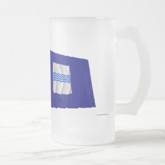 Italy and Basilicata waving flags Frosted Glass Beer Mug