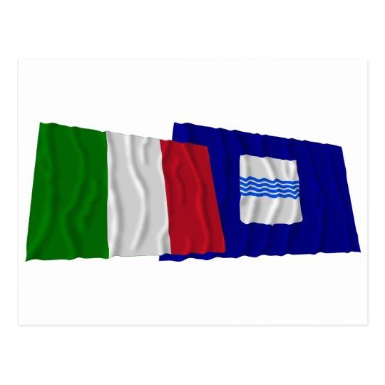 Italy and Basilicata waving flags Postcard