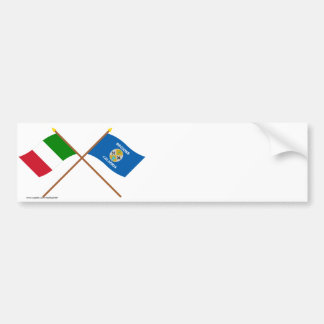 Italy and Calabria crossed flags Car Bumper Sticker
