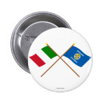 Italy and Calabria crossed flags Button