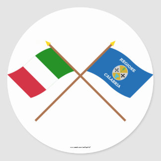 Italy and Calabria crossed flags Classic Round Sticker