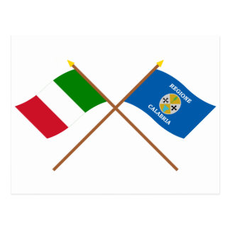 Italy and Calabria crossed flags Post Cards