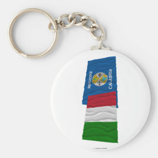 Italy and Calabria waving flags Basic Round Button Keychain