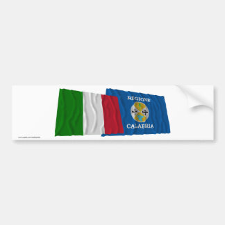 Italy and Calabria waving flags Car Bumper Sticker