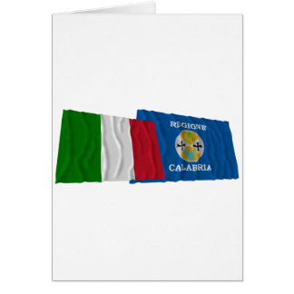 Italy and Calabria waving flags Card