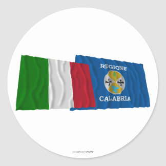Italy and Calabria waving flags Round Stickers