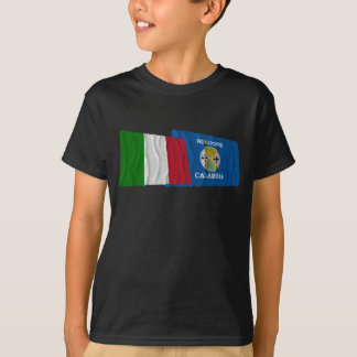 Italy and Calabria waving flags T-Shirt