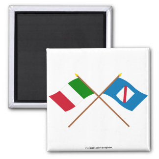 Italy and Campania crossed flags Refrigerator Magnet