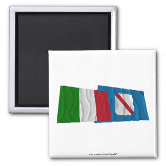Italy and Campania waving flags Magnets