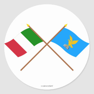 Italy and Friuli-Venezia Giulia crossed flags Classic Round Sticker