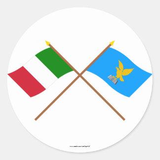 Italy and Friuli-Venezia Giulia crossed flags Round Stickers