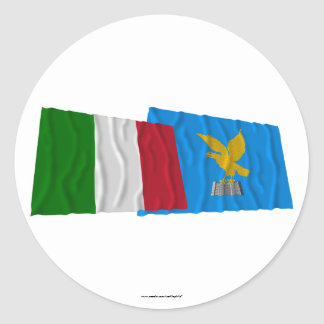 Italy and Friuli-Venezia Giulia waving flags Classic Round Sticker
