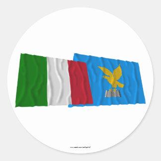 Italy and Friuli-Venezia Giulia waving flags Round Stickers