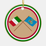 Italy and Lazio crossed flags Christmas Tree Ornament