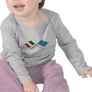 Italy and Lazio crossed flags T-shirt