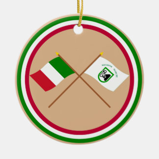 Italy and Le Marche crossed flags Christmas Tree Ornament