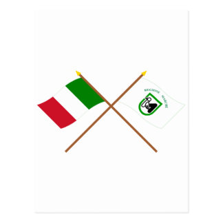 Italy and Le Marche crossed flags Postcard