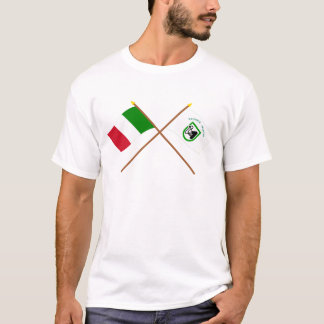 Italy and Le Marche crossed flags T-Shirt