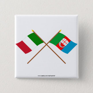 Italy and Liguria crossed flags Pinback Button