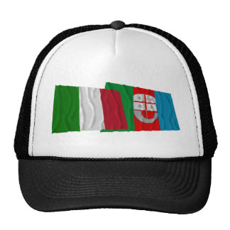 Italy and Liguria waving flags Trucker Hats