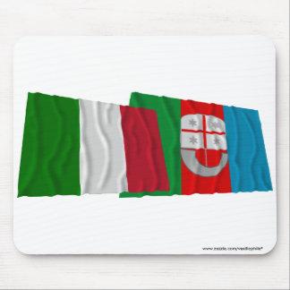 Italy and Liguria waving flags Mousepad