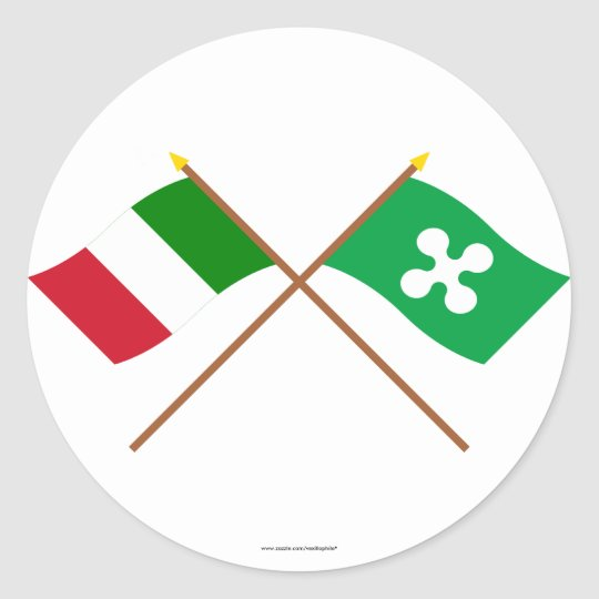 Italy and Lombardia crossed flags Classic Round Sticker