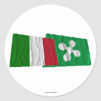 Italy and Lombardia waving flags Round Sticker