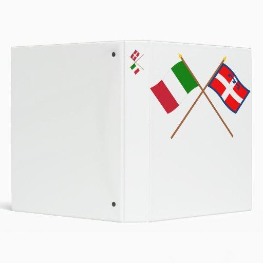 Italy and Piemonte crossed flags Vinyl Binder