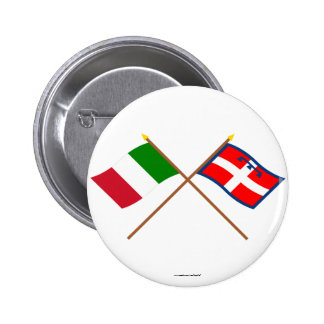 Italy and Piemonte crossed flags Pinback Buttons