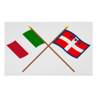 Italy and Piemonte crossed flags Print